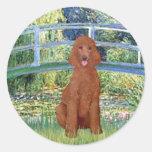 Lily Pond Bridge - Dark Red Standard Poodle #1 Round Stickers