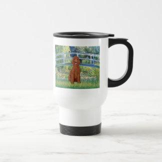 Lily Pond Bridge - Dark Red Standard Poodle #1 Travel Mug