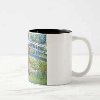 Lily Pond Bridge - Dark Red Standard Poodle #1 Two-Tone Coffee Mug