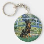 Lily Pond Bridge - Rottweiler (#5) Basic Round Button Keychain