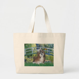 Lily Pond Bridge - Shih Tzu (brown/white) Large Tote Bag