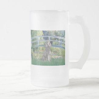 Lily Pond Bridge-Silver St. Poodle Frosted Glass Beer Mug