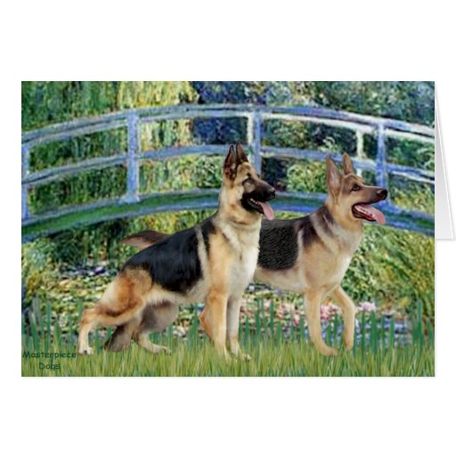 Lily Pond Bridge - Two German Shepherds Greeting Card