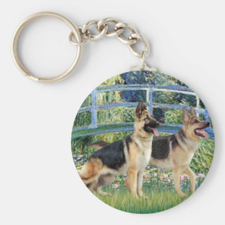 Lily Pond Bridge - Two German Shepherds Key Chains