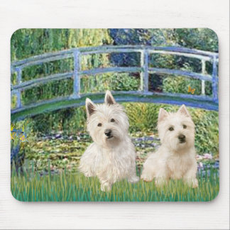 Lily Pond Bridge - Westies (two) Mouse Pad