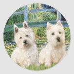 Lily Pond Bridge - Westies (two) Round Stickers
