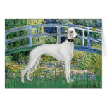 Lily Pond Bridge - White Whiipet (11b)A Greeting Card