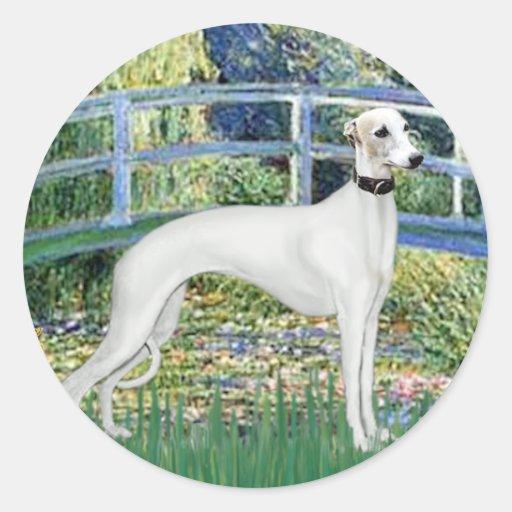 Lily Pond Bridge - White Whiipet (11b)A Classic Round Sticker