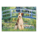 Lily Pond Bridge - Wire Fox Terrier 3 Greeting Card
