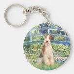 Lily Pond Bridge - Wire Fox Terrier 3 Basic Round Button Keychain