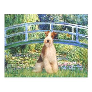 Lily Pond Bridge - Wire Fox Terrier 3 Postcard