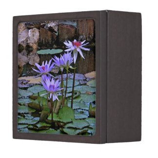 LILY POND WITH LAVENDER COLORED LOTUS BLOSSOMS JEWELRY BOX