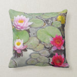 Lily Pond With Lotus Blossoms Throw Pillows