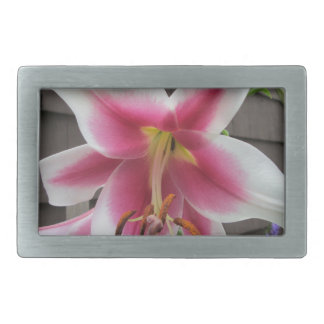 Lily Red White Plant House Rectangular Belt Buckle