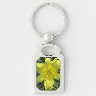 Lily Shady Lemon Yellow Silver-Colored Rectangular Metal Keychain