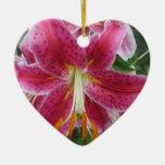 Lily Stargazer Purple Flower Ceramic Ornament