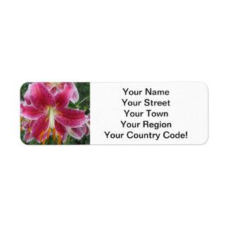 Lily Stargazer Purple Flower Label