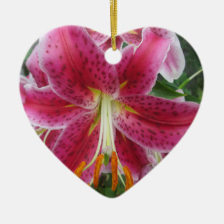 Lily Stargazer Purple Flower Double-Sided Heart Ceramic Christmas Ornament