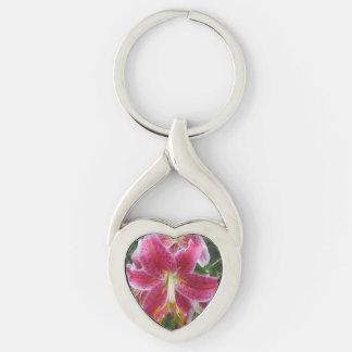 Lily Stargazer Purple Flower Silver-Colored Heart-Shaped Metal Keychain