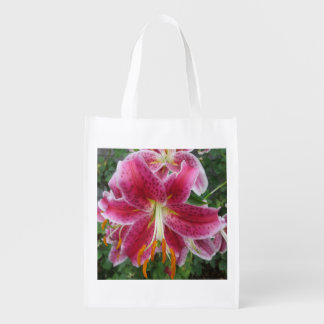 Lily Stargazer Purple Flower Reusable Grocery Bags