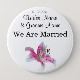 Lily Wedding Souvenirs Keepsakes Giveaways Pinback Button