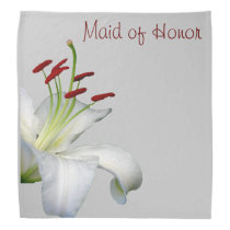 Lily, White and Red MAID OF HONOR Bandana