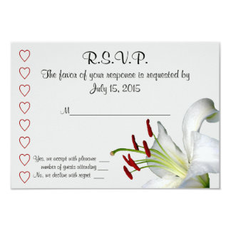 """Lily, White and Red  RSVP Cards 3.5"""" X 5"""" Invitation Card"""