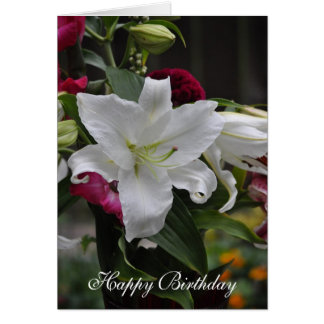 Lily White Birthday Greeting Card