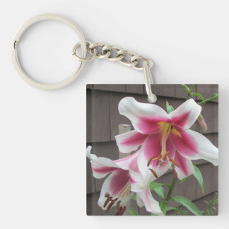 Lily White Purple House Plant Square Acrylic Keychains