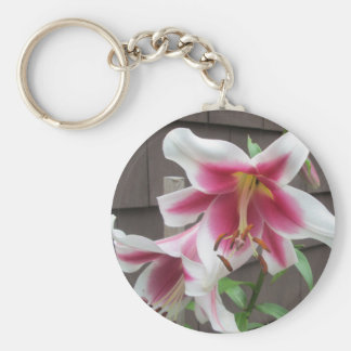 Lily White Purple House Plant Keychain