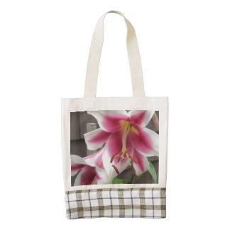 Lily White Purple House Plant Zazzle HEART Tote Bag