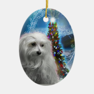 Lily Xmas Tree Double-Sided Oval Ceramic Christmas Ornament