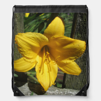 Lily Yellow Weathered Fence Drawstring Bag