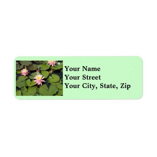 Lilypad florece etiquetas del remite etiqueta de remite