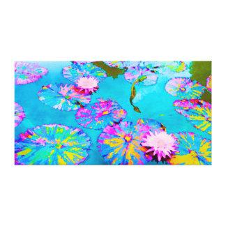 Lilypads abigarrado con Waterlilies rosado Impresión En Lienzo