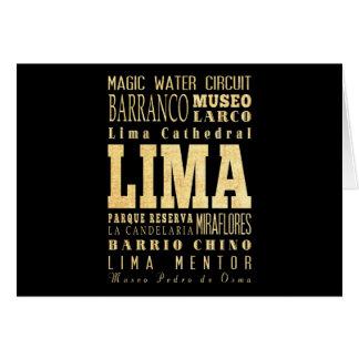 Lima City of Peru Typography Art Card