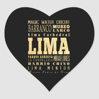 Lima City of Peru Typography Art Heart Sticker