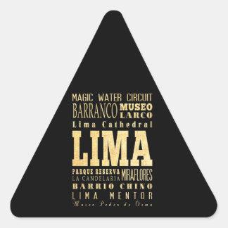 Lima City of Peru Typography Art Triangle Sticker