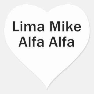 Lima Mike alpha LMAA Heart Sticker
