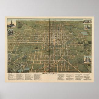 Lima Ohio 1892 Antique Panoramic Map Poster