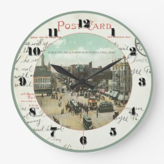 Lima Ohio Post Card Clock - Public Square