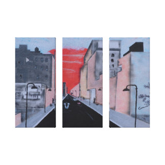 Lima Sunset in 3 Panels Stretched Canvas Print