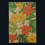 "Limahuli Garden Hawaiian Floral Kitchen Towel<br><div class=""desc"">On the north shore of Kauai,  Hawaii,  is a beautiful botanical garden called Limahuli. Our design was inspired by this beautiful place. The vintage cartoon flowers have a natural grass cloth textural effect throughout the pattern. These designs come in several colorways.</div>"