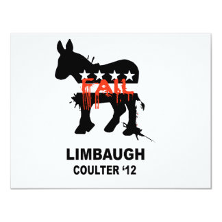 """Limbaugh Coulter '12 4.25"""" X 5.5"""" Invitation Card"""