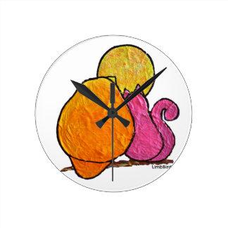 "LimbBirds ""Harvest Moon Cat Bird"" products Round Clock"