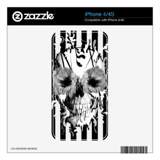 Limbo, black and white striped skull decal for the iPhone 4