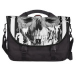 Limbo, black and white striped skull laptop computer bag