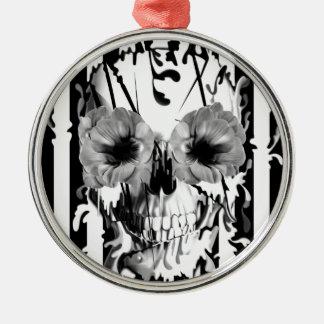 Limbo, black and white striped skull metal ornament