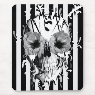 Limbo, black and white striped skull mouse pad