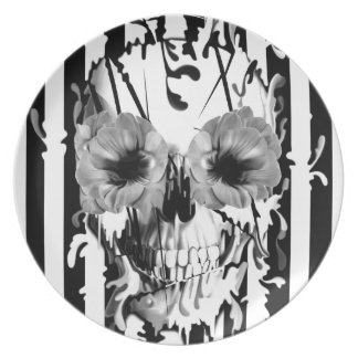 Limbo, black and white striped skull plate